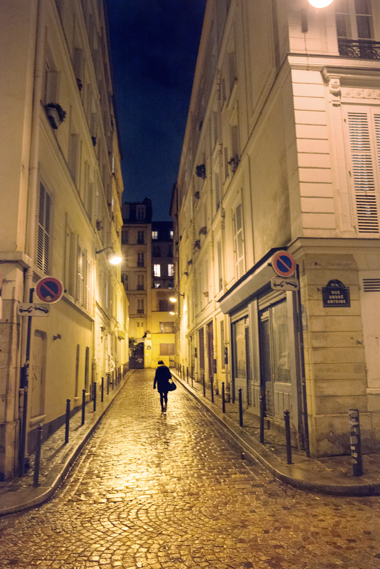 Montmartre cobblestone streets at night