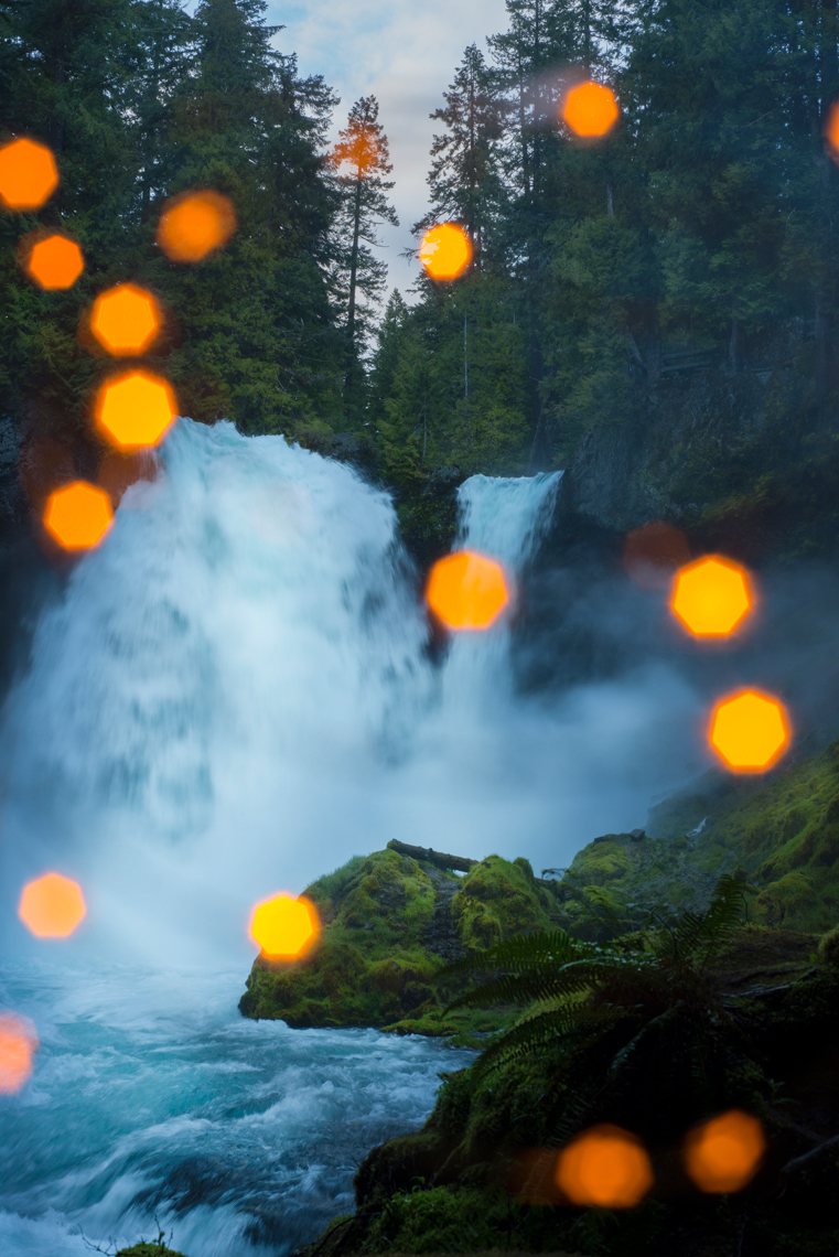 Spooky water fall at twilight